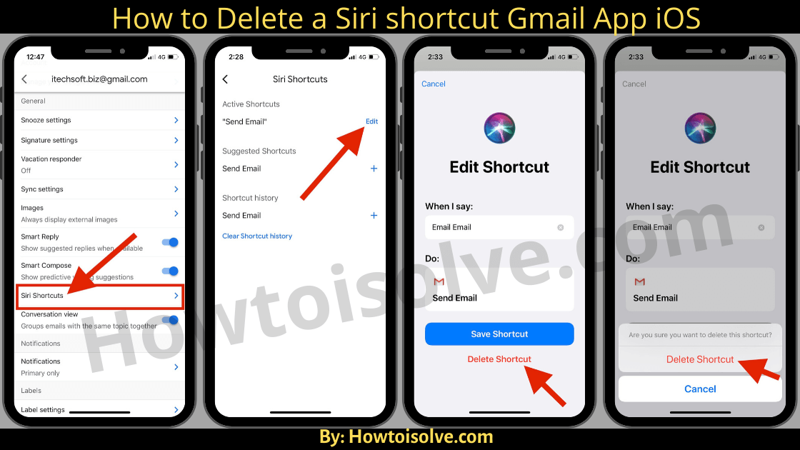 How to Delete a Siri shortcut Gmail App iOS
