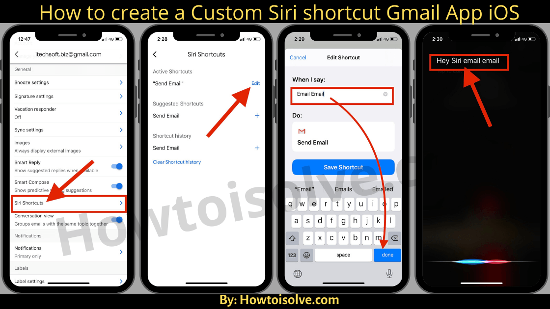 How to create a custome or Edit Siri shortcut Gmail App iOS