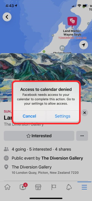 Access to Calendar Denied on iPhone