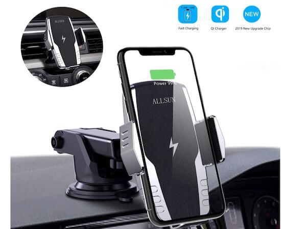 Беспроводное автомобильное зарядное устройство ALLSUN с подставкой для iPhone SE 2 (2020)