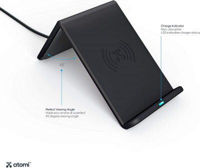 Atomi Wireless Charge Stand 10W Qi Wireless Cell Phone Charger Black
