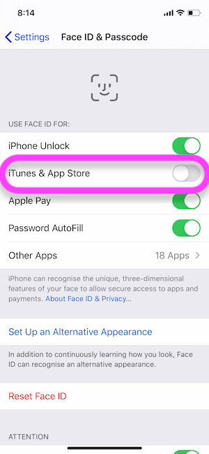 Disable Face ID for iTunes and App Store