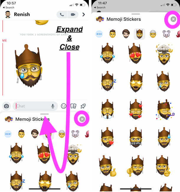 Expand Memoji Keyboard or Close Memoji Keyboard on iPhone