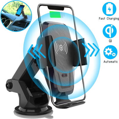 Iotton Wireless Car Charger, Auto-Clamp