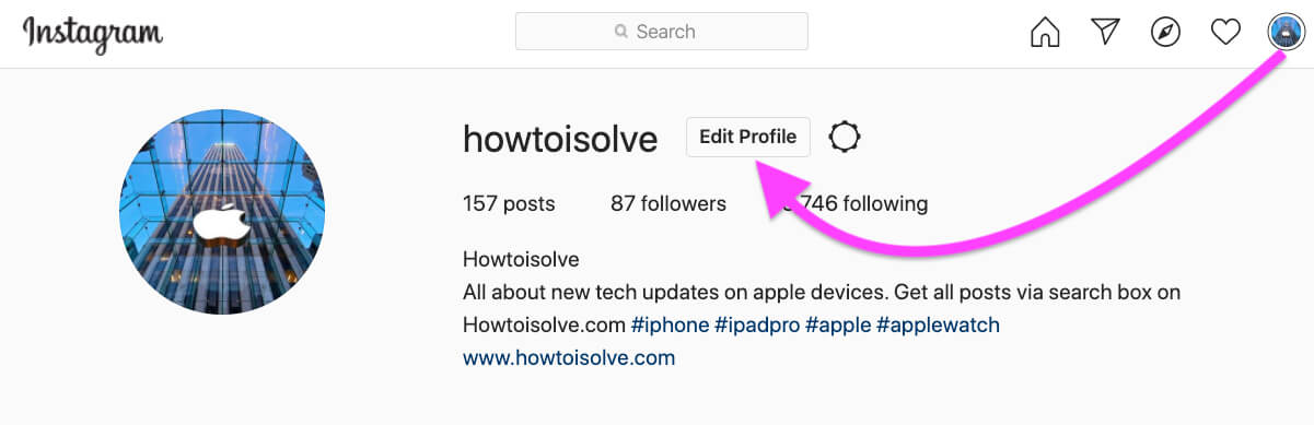 Edit Instagram Profile on PC or mac Browser
