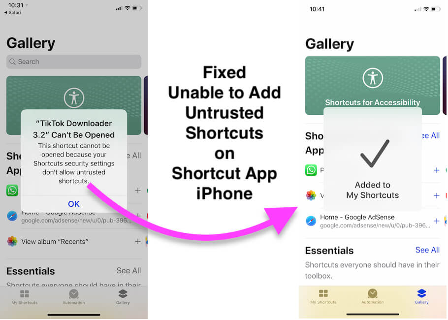 Fixed Unable to Add Untrusted Shortcuts on Shortcut App iPhone