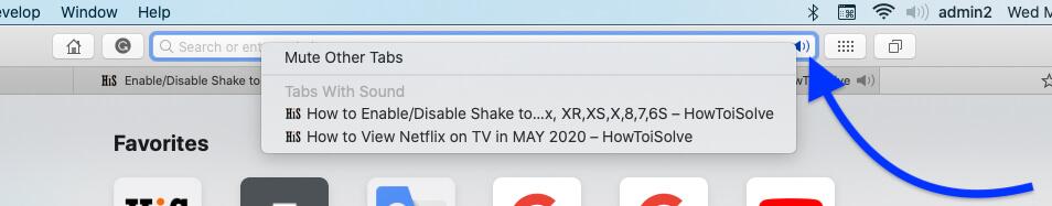 Mute Other Tab on MacBook Mac Safari