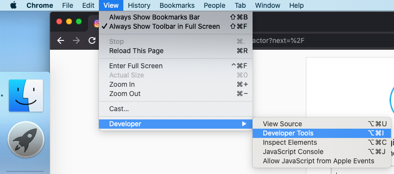 Open Developer Tools on Chrome Browser on Macbook Mac