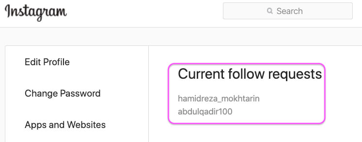 Pending or Current Follow Requests Using Browser