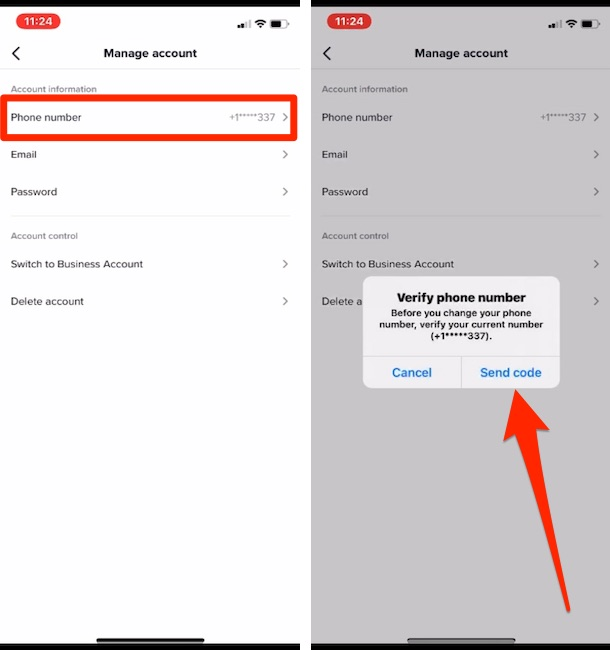 Send code to Verify before change from tiktok account app