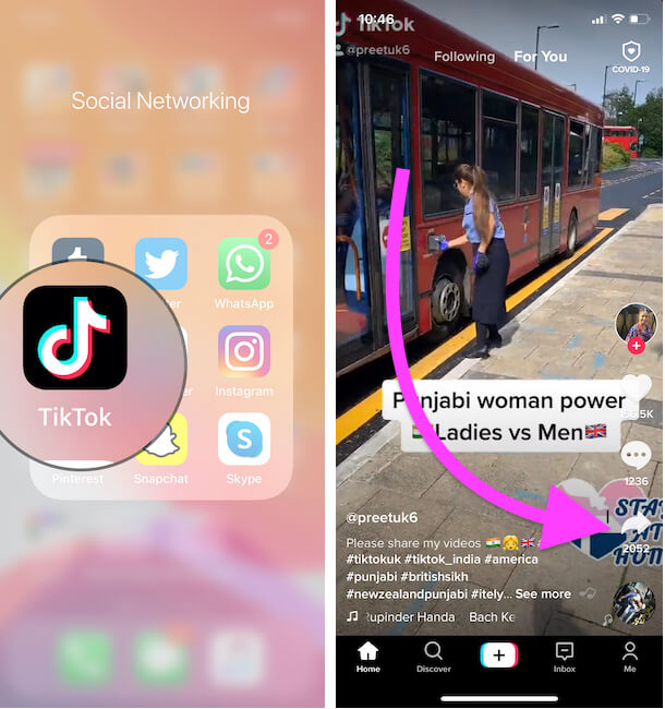 Sharing option on tiktok iPhone app