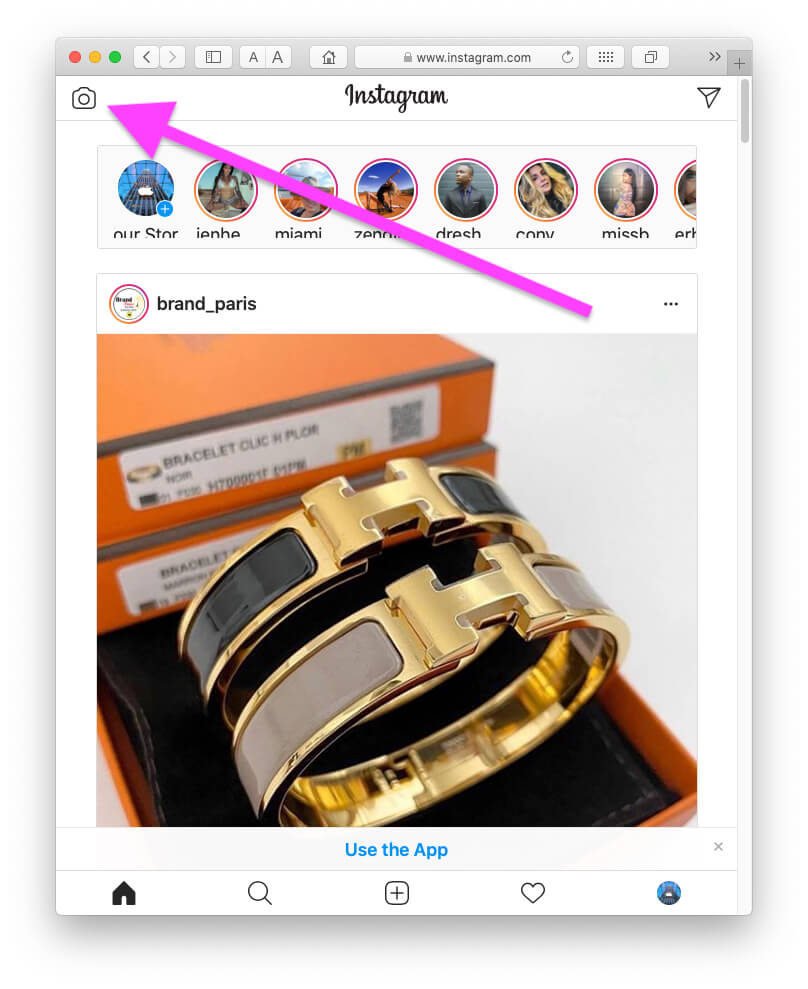 Tap on Camera icon to upload new instagram story from safari MacBook Mac Browser