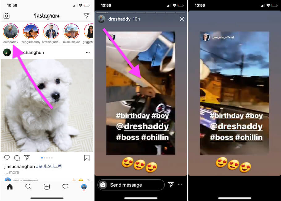 Touch and Hold on Instagram Storie to push while play on iPhone