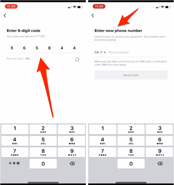 Update with New Phone number and Remove old on TIktok iPhone