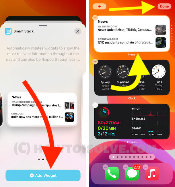 Add Smart Stack Widget on iPhone Home screen