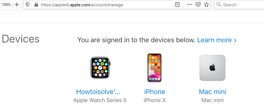 Apple ID device serial number on iPhone