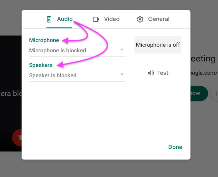 Audio settings on google meet video meeting