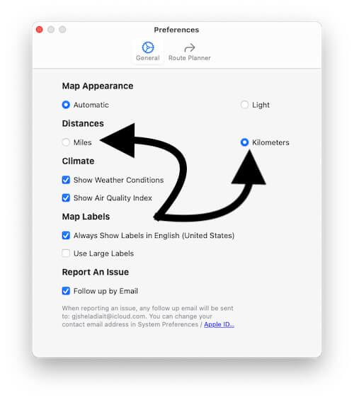 Change Distance Miles and Kilometers on macbook Mac in macOS Big sur