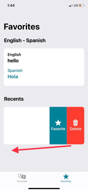 Clear History on Translate App on iPhone