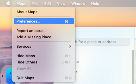 Maps Preferences on mac in macOS Big Sur