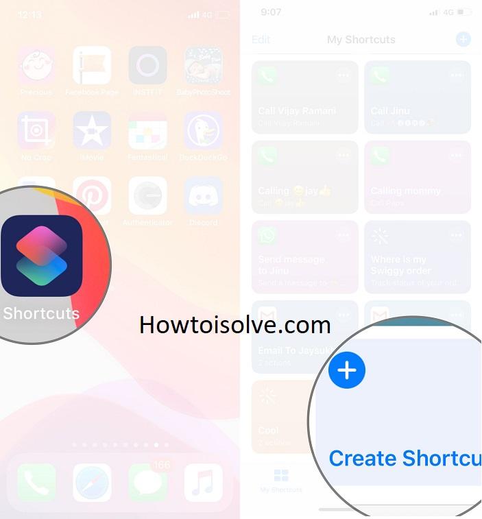 Open Shortcuts app and click on create shortcut App