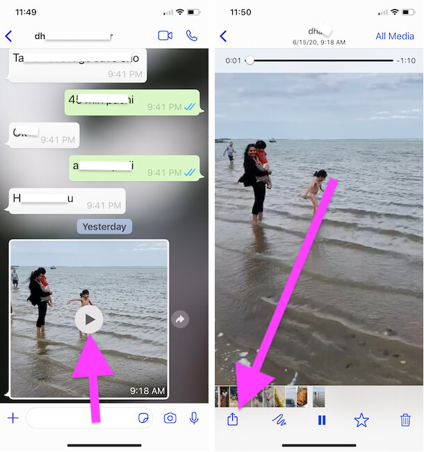 Open Video on WhatsApp iPhone app