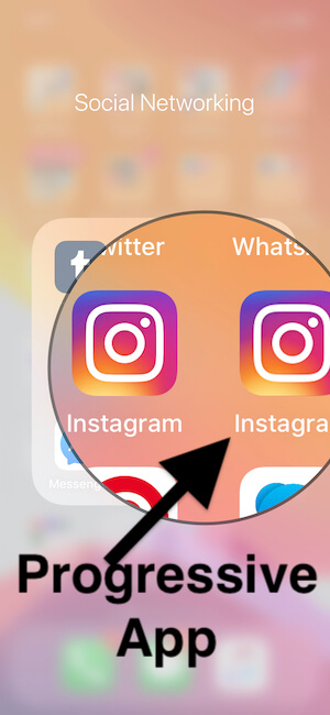 Progressive App for instagram on iphone