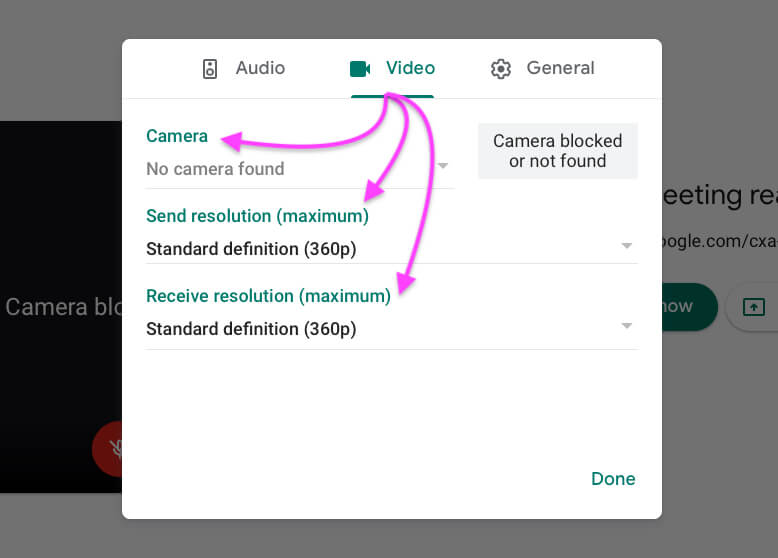 Video settings on google meet video meeting