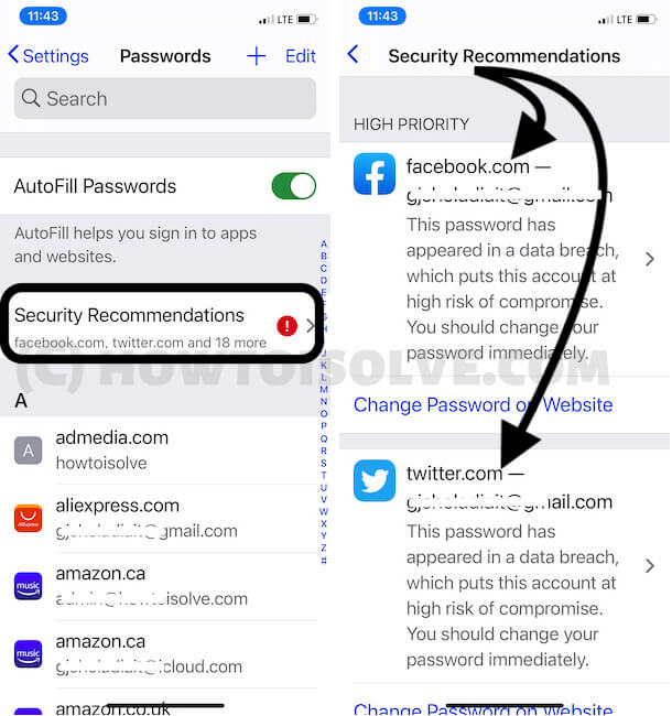 Change Week passwords from security recommendations