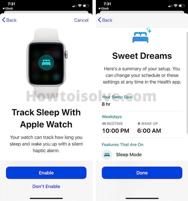Enable Sleep Tracking in Health App and Done to Start Bedtime on iPhone clock app