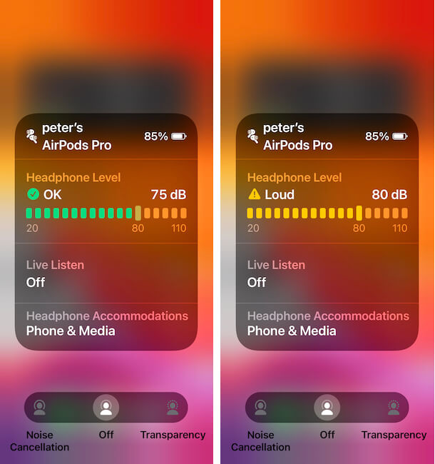 Headphone Level on Hearing on iPhone