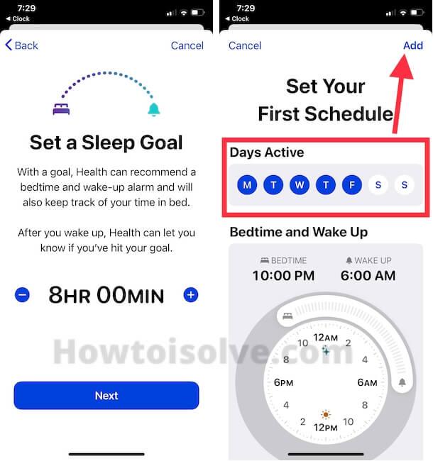 Sleep Goal and Set Sleep Time and Day on iPhone