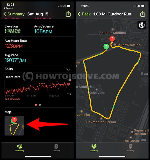 Open your Route of Workout on Fitness app on iPhone