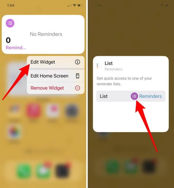 Edit Reminder Widget