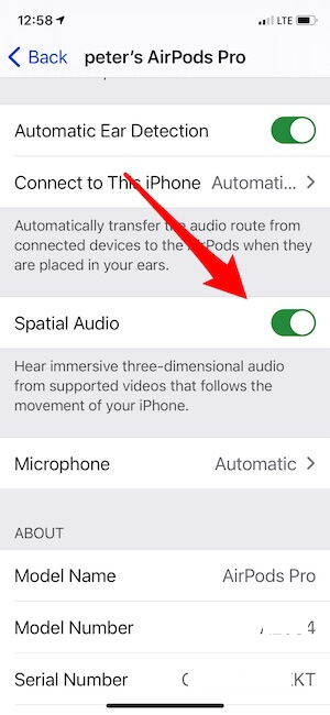 Enable Spatial Audio from AirPods Pro Bluetooth Settings