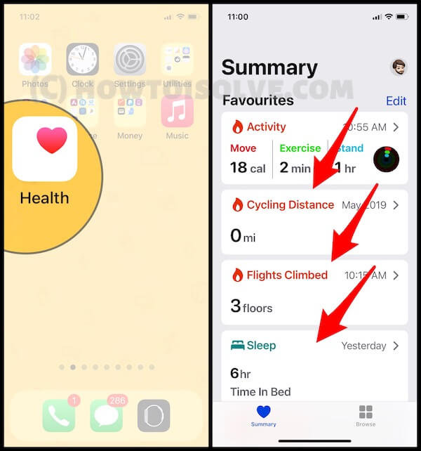 Open Health App on iphone and Add Data for Diff Workout and Activity