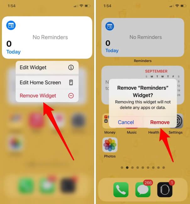 Remove Reminder Widget