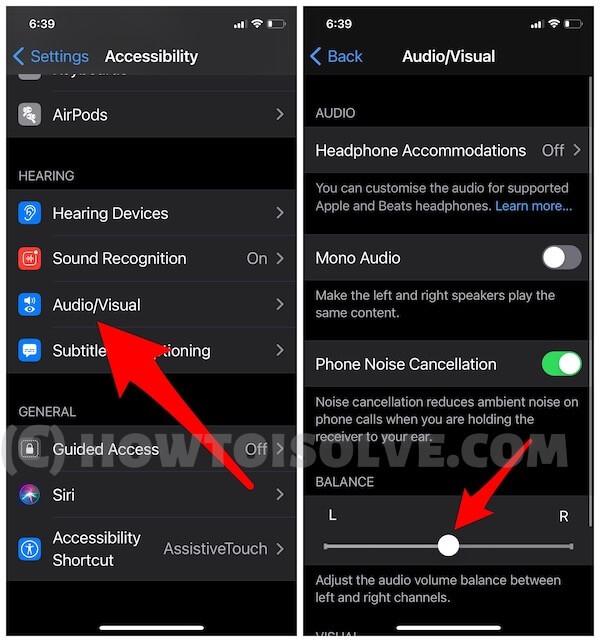 Audio Balance on iPhone settings