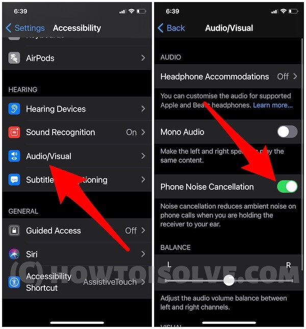 Phone noise cancellation on iPhone settings