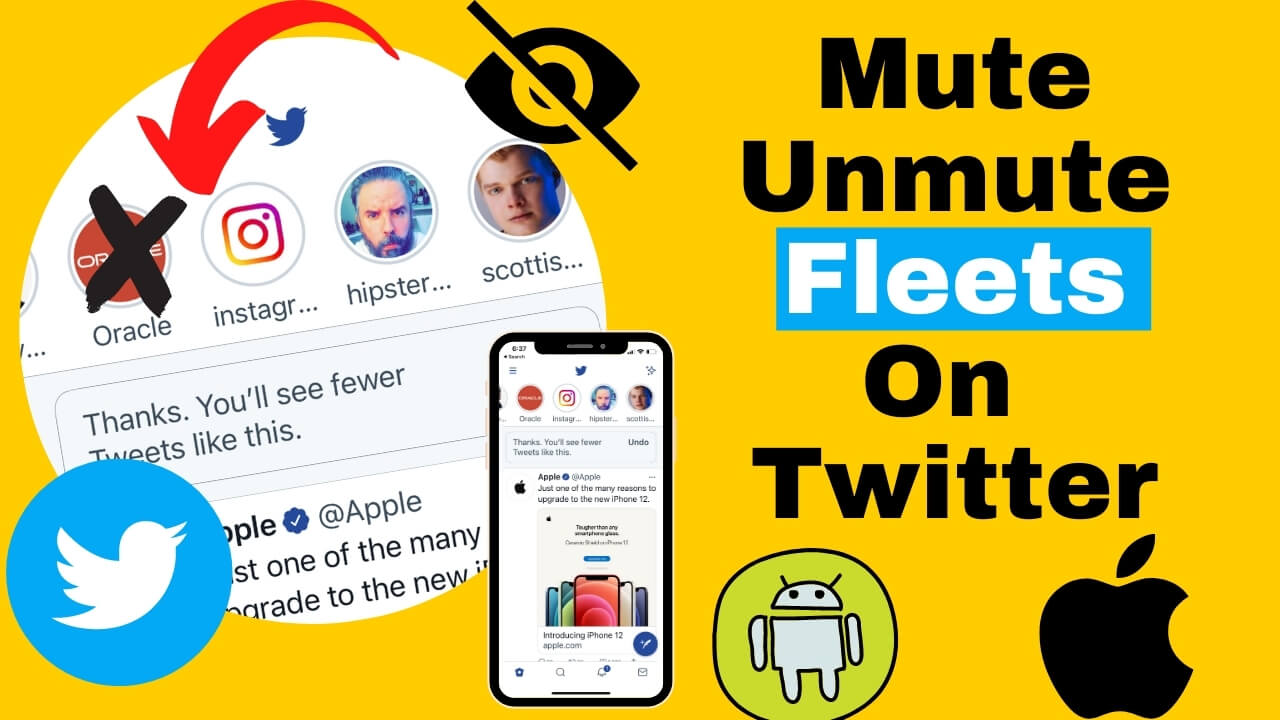 Mute Unmute Fleets On Twitter iPhone and android