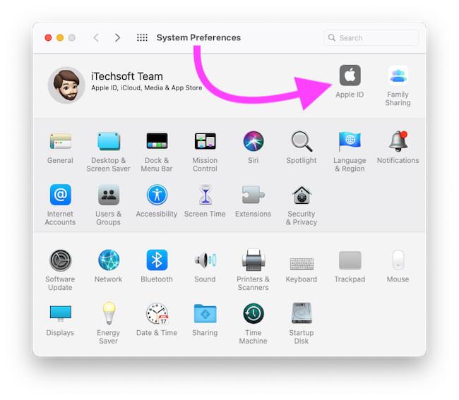 Apple ID в разделе «Системные настройки»