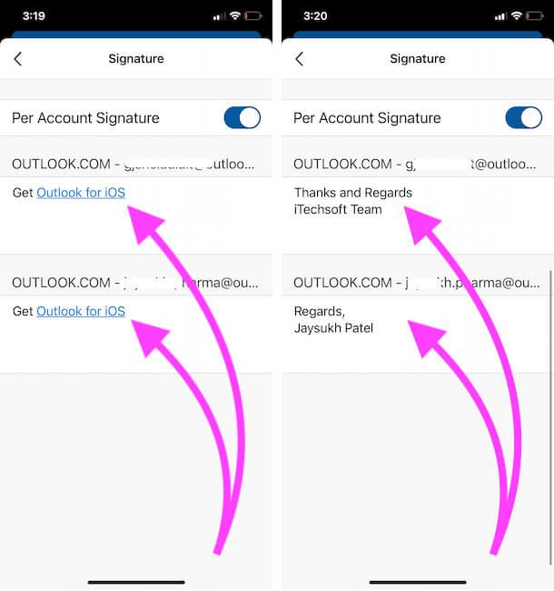 Изменить подпись учетной записи электронной почты Outlook из приложения для iPhone