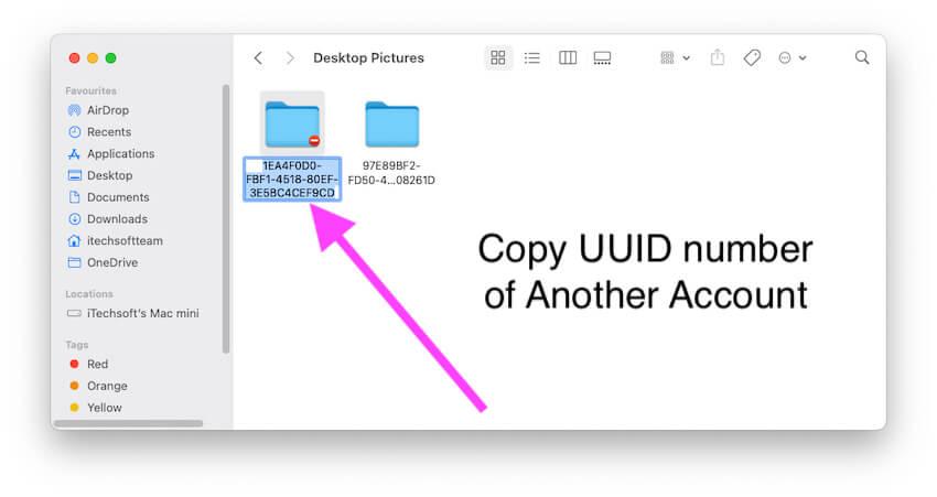 Скопируйте номер UUID и создайте новую папку с таким же именем