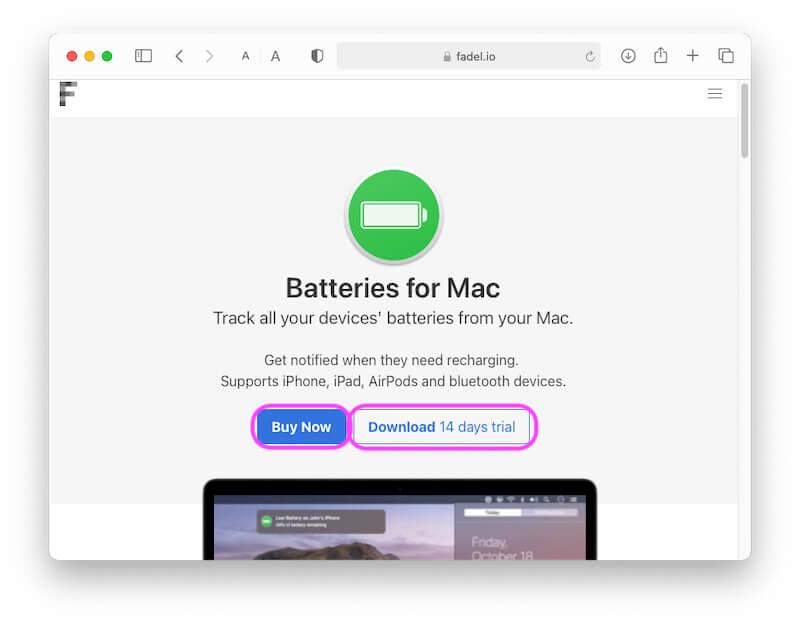 Загрузите и установите батареи для Mac