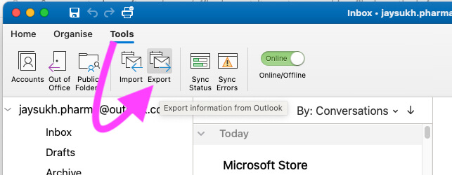 Export Outlook Emails on Mac and MacBook