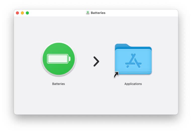 Извлеките и переместите батареи в папку приложений на Mac