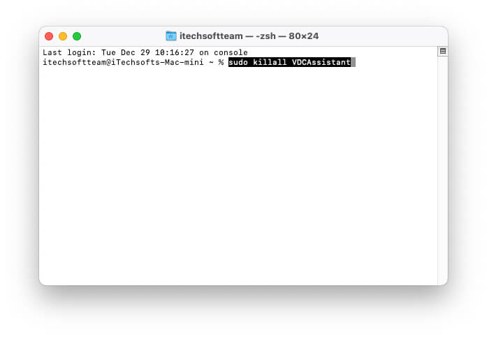 Kill VDCAssistant Using Terminal on Mac and MacBook