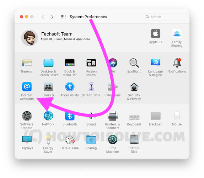 Управление учетной записью Интернета для почты на Mac из системных настроек