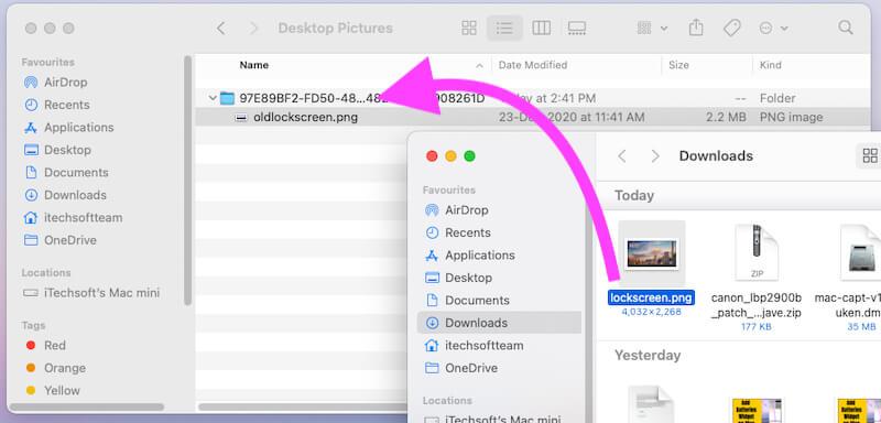 Переместить новое изображение экрана блокировки в папку Finder