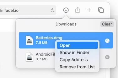 Откройте настройку виджета «Батареи» на Mac из диспетчера загрузок.